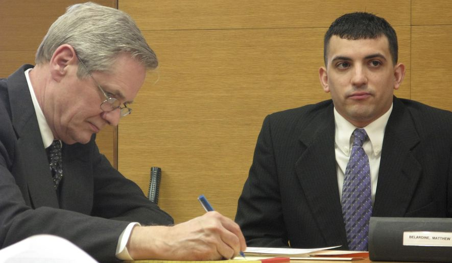 FILE - In this April 22, 2014, file photo, Matthew Belardine, right, with his attorney, Dennis McNamara, look on during a court hearing in Steubenville, Ohio. Belardine, a volunteer football coach whose house was the scene of a party that preceded the rape of a girl by two high school football players, received a two-month sentence Monday, Dec. 22 for violating his probation in that case. (AP Photo/Steubenville Herald Star, Mark Law, File)