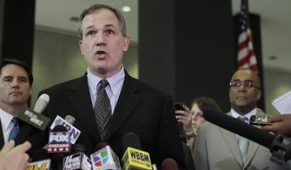 "In this Aug. 17, 2010 file photo, U.S. Attorney Patrick Fitzgerald talks to reporters after a jury found former Gov. Rod Blagojevich guilty on one count of the 24 counts against him in his federal corruption trial. in Chicago. Robert Blagojevich the brother of imprisoned former Illinois Gov. Rod Blagojevich offers fresh details in a new book to back his contention prosecutors used him as a pawn to get his younger sibling on charges he sought to hock President Barack Obama's old U.S. Senate seat. While charges were eventually dropped against him, the Tennessee businessman, says his refusal to turn on his brother made him ""collateral damage"" of an overzealous prosecution that cost his reputation, $1 million in legal bills and a still-unrepaired family split. (AP Photo/M. Spencer Green, File)"