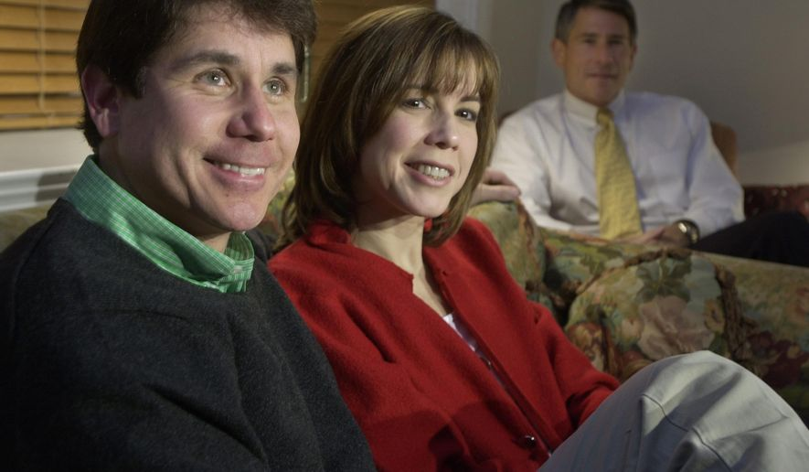 "FILE - In this March 19, 2002 file photo in Chicago, Democratic gubernatorial hopeful U.S. Rep. Rod Blagojevich, left, watches election returns with his wife, Patti, and brother, Rob, at his home. Robert Blagojevich the brother of imprisoned former Illinois Gov. Rod Blagojevich offers fresh details in a new book to back his contention prosecutors used him as a pawn to get his younger sibling on charges he sought to hock President Barack Obama's old U.S. Senate seat. While charges were eventually dropped against him, the Tennessee businessman, says his refusal to turn on his brother made him ""collateral damage"" of an overzealous prosecution that cost his reputation, $1 million in legal bills and a still-unrepaired family split. (AP Photo/M. Spencer Green, File)"