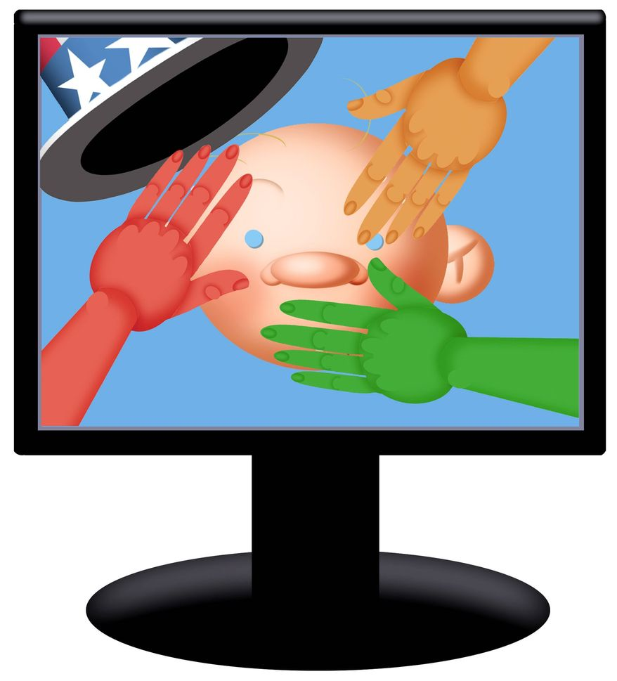 Illustration on cyber threats to U.S. free speech by Alexander Hunter/The Washington Times