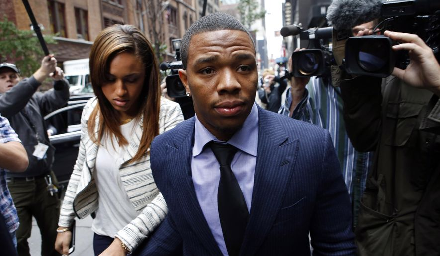 FILE - In this Nov. 5, 2014, file photo, Ray Rice arrives with his wife Janay Palmer for an appeal hearing in New York, regarding his then-indefinite suspension from the NFL. The NFL's troubles with domestic violence were selected the sports story of the year Tuesday, Dec. 23, 2014, in an annual vote conducted by The Associated Press.  (AP Photo/Jason DeCrow, File)