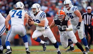 The Colts' Andrew Luck (12) should be the top ranked fantasy quarterback heading into the 2015 season. (Associated Press)