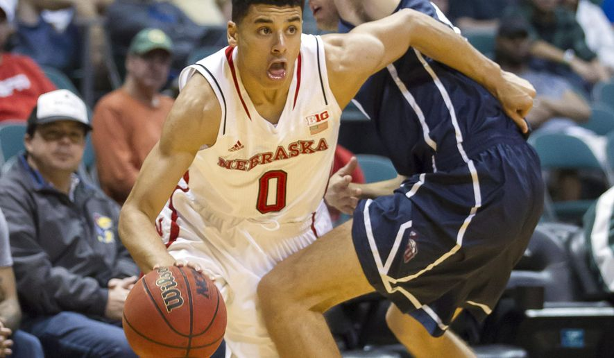 Nebraska guard Tai Webster (0) drives past Loyola Marymount forward Marin Mornar, right, in the first half of an NCAA college basketball game at the Diamond Head Classic on Tuesday, Dec. 23, 2014, in Honolulu. (AP Photo/Eugene Tanner)