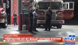 """Jacksonville Mayor Alvin Brown denounced the """"cowardly attacks on our brave first responders"""" after firefighters were reportedly targeted Tuesday night in a drive-by shooting. (WJAX-TV)"""