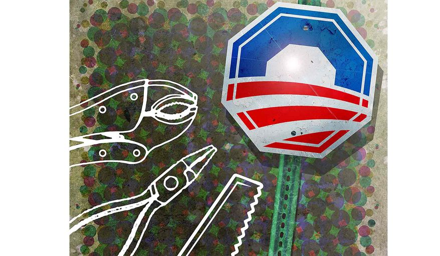 Obama Stop Sign Keeps Tools from Working Illustration by Greg Groesch/The Washington Times