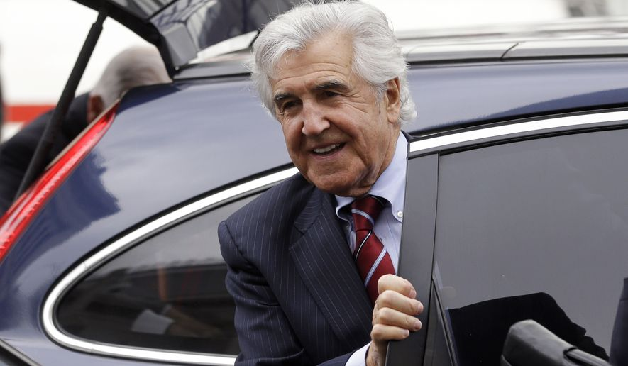 Former state Sen. Joseph Bruno arrives at federal court on Monday, May 5, 2014, in Albany, N.Y. Jury selection is set to begin for the former Republican leader who's facing his second trial on federal fraud charges. (AP Photo/Mike Groll)
