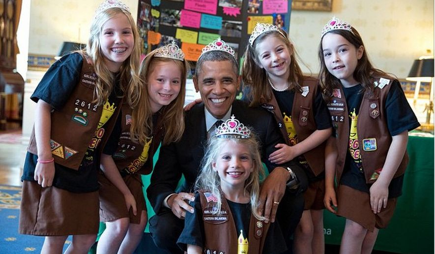 A Girl Scout troop from Tulsa, Oklahoma convinced President Obama to don a tiara during their trip to the White House in May. (Official White House Photo by Pete Souza)