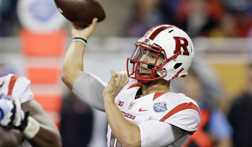 Rutgers quarterback Gary Nova throws during the first half of the Quick Lane Bowl NCAA college football game against North Carolina, Friday, Dec. 26, 2014, in Detroit. (AP Photo/Carlos Osorio)