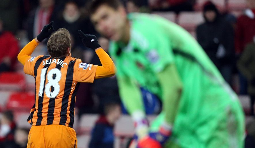 Hull City's Nikica Jelavic ceebrates his goal during their English Premier League soccer match between Sunderland and Hull City at the Stadium of Light, Sunderland, England, Friday, Dec. 26, 2014. (AP Photo/Scott Heppell)