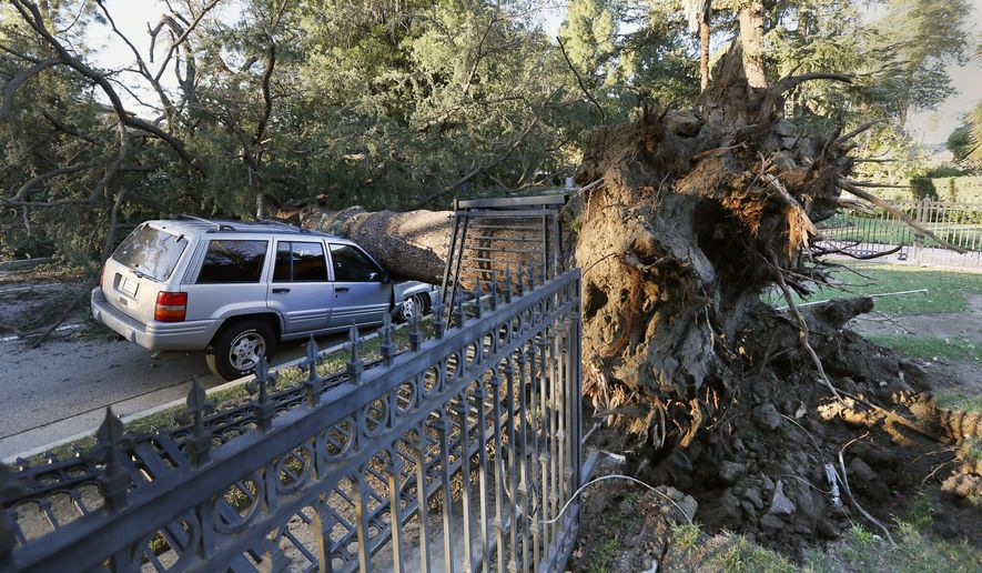 An SUV sits crushed on a street after being hit by a fallen tree caused by high winds in the Sherman Oaks section of Los Angeles on Friday, Dec. 26, 2014. California weather is under the influence of a cold air mass that may bring freezes and frosts even as southern areas continue to see damaging winds.  (AP Photo/Richard Vogel)