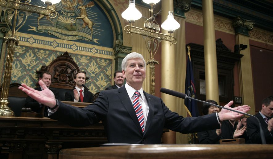 FILE - This Jan. 16, 2014, file photo show Michigan Gov. Rick Snyder as he is introduced before delivering his State of the State address to a joint session of the House and Senate in the House Chambers of the state Capitol in Lansing, Mich. One group of potential candidates for president probably won't be shuffling off to Iowa, New Hampshire or other early campaign spots in the new year. They'll be hunkered down in statehouses across the Midwest, pushing bills through their legislatures. Few outside their home states will notice, but these governors and their policies could wind up in the national campaign picture. (AP Photo/Al Goldis, File)