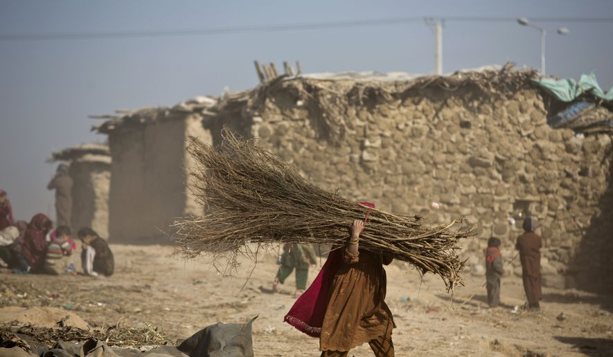 A Pakistani woman who was displaced with her family from Pakistan's tribal areas carries firewood home during a sandstorm in a poor neighborhood on the outskirts of Islamabad, Pakistan, Friday, Dec. 26, 2014.  (AP Photo/Muhammed Muheisen)