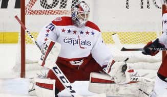 Washington Capitals goalie Braden Holtby gloves a slap shot by Pittsburgh Penguins' Evgeni Malkin during the third period of an NHL hockey game in Pittsburgh, Saturday, Dec. 27, 2014. The Capitals won 3-0. (AP Photo/Gene J. Puskar)