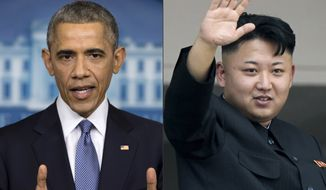 "This photo combination shows U.S. President Barack Obama, left, and North Korean leader Kim Jong Un. North Korea has compared Obama to a monkey and blamed the U.S. for shutting down its Internet amid the hacking row over the movie ""The Interview."" (AP Photos)"