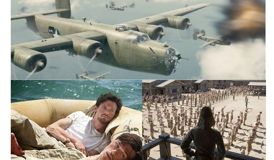 "Scenes from ""Unbroken"" and a photo of Louis Zamperini and Billy Graham             The Washington Times"