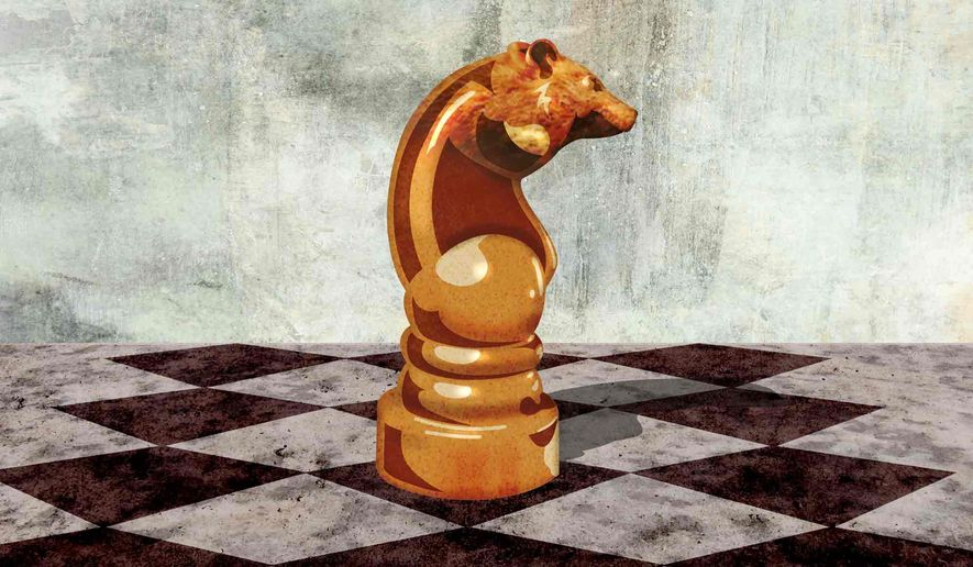 Russian President Vladimir Putin's Strategy Chess Bear (Illustration by Greg Groesch/The Washington Times)