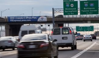 The I-95 Express Lanes are opening in Northern Virginia, allowing motorists with an E-ZPass to bypass heavy traffic and pay appropriate tolls depending on the time of day and congestion volume during their journeys. (Associated Press) **FILE**