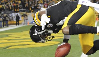 Pittsburgh Steelers wide receiver Antonio Brown (84) flips into the end zone for a touchdown on a punt return during the first quarter an NFL football game against the Cincinnati Bengals, Sunday, Dec. 28, 2014, in Pittsburgh. (AP Photo/Don Wright)