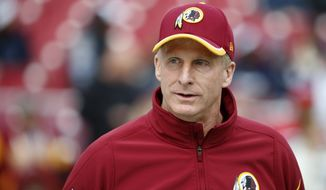 Washington Redskins Defensive Coordinator Jim Haslett walks across the field before an NFL football game against the Dallas Cowboys in Landover, Md., Sunday, Dec. 28, 2014. (AP Photo/Alex Brandon)