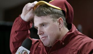 Washington Redskins head coach Jay Gruden pulls on his cap as he answers questions during a press conference after an NFL football game against the Dallas Cowboys in Landover, Md., Sunday, Dec. 28, 2014. The Cowboys won 44-17. (AP Photo/Alex Brandon)
