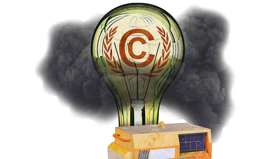 Carbon Footprint of the U.N. Climate Conference Illustration by Greg Groesch/The Washington Times