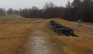A cannon battery marks where Union forces were entrenched during the Siege of Vicksburg, which rocked the Mississippi town between May 18 and July 4, 1863. (ERIC ALTHOFF/WASHINGTON TIMES)