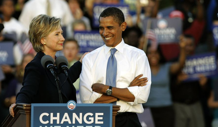 FILE - In this Oct. 20, 2008 file photo, then-Sen. Hillary Clinton, D-N.Y. delivers a speech supporting Democratic presidential candidate Sen. Barack Obama, D-Ill., at a rally in Orlando, Fla. A still undeclared candidate, Clinton sits atop the prospective field of Democratic presidential candidates for 2016. But as she has said before, if Clinton runs again, she'll work as hard as any underdog. Clinton's 2008 presidential bid stumbled against President Barack Obama, undermined by anti-war activists who opposed her vote to authorize the Iraq war, infighting among her staff and a large entourage in the early states where retail politics matter. (AP Photo/John Raoux, File)