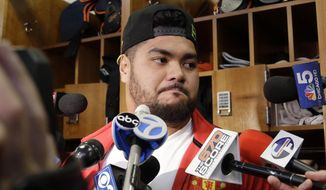 Chicago Bears defensive tackle Stephen Paea talks to media about Bears fired general manager Phil Emery and head coach Marc Trestman at Halas Hall on Monday, Dec. 29, 2014,  in Lake Forest, Ill. Chicago Bears head coach Marc Trestman and general manager Phil Emery were fired Monday after the team completed a disappointing 5-11 campaign.(AP Photo/Nam Y. Huh)