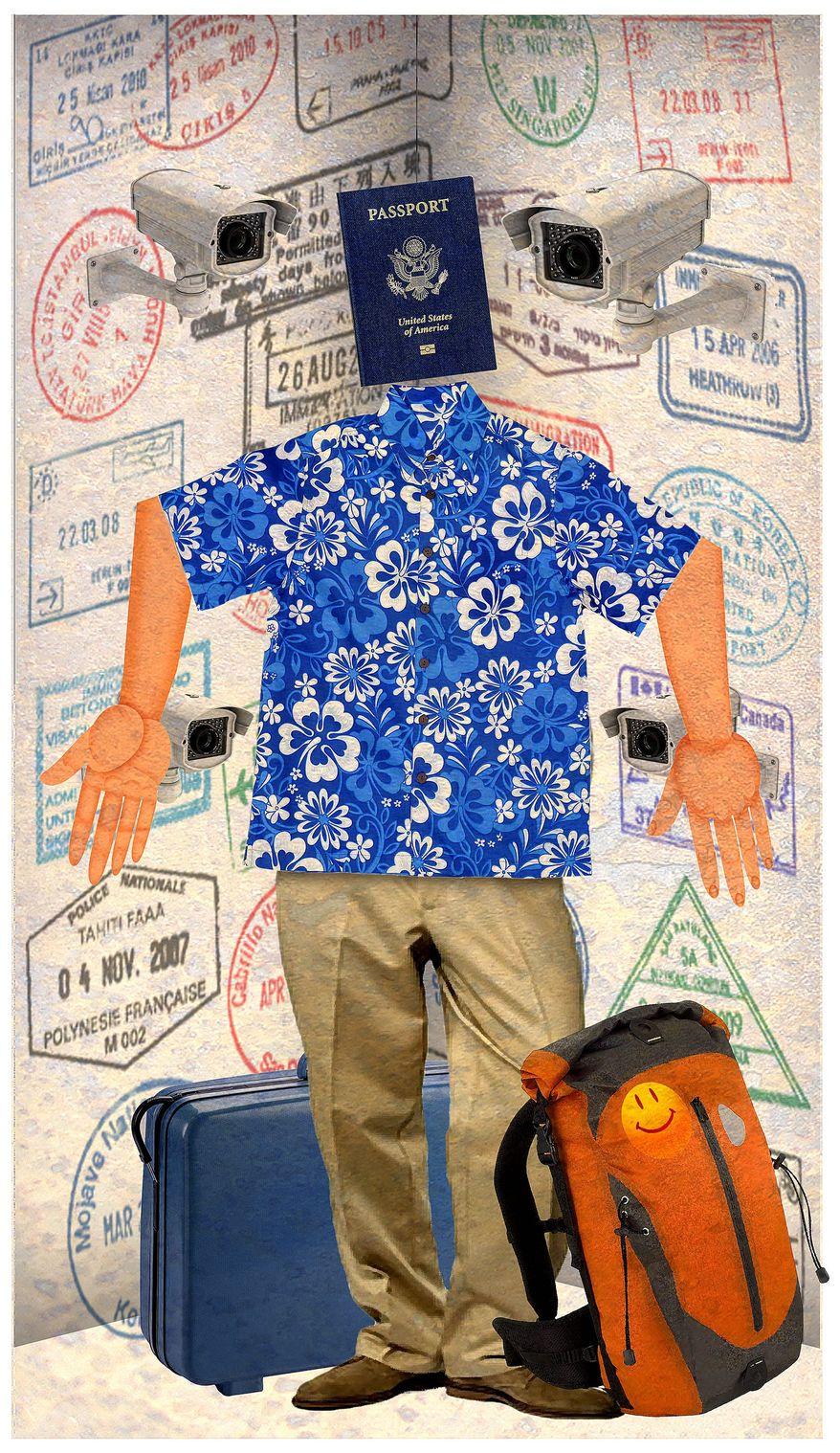 Illustration on tips for international travel by Alexander Hunter/The Washington Times