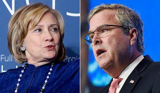 Political advertisers favor a Clinton Vs. Bush match in 2016 (AP PHOTOS)