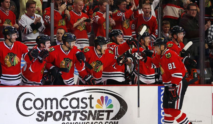 Chicago Blackhawks right wing Marian Hossa (81) celebrates with his teammates after scoring a goal against the Nashville Predators during the second period of an NHL hockey game Monday, Dec. 29, 2014, in Chicago.  (AP Photo/Jeff Haynes)