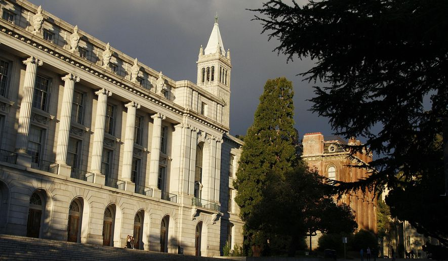 In this photo taken Sunday, Dec. 21, 2014, late light falls on Wheeler Hall, South Hall and the Campanile on the University of California campus in Berkeley, Calif. This famously liberal college town is known as the cradle of the Free Speech Movement, but speech isn't the only thing that's free here. Whether you're strolling the redwood-shaded University of California, Berkeley, campus, or slipping across the Oakland border for a dose of Golden State history, you can exercise your limbs and your intellect without giving your wallet a workout. (AP Photo/Eric Risberg)