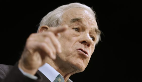 Former Texas Rep. Ron Paul speaks in Richmond, Va., on Nov. 4, 2013. (Associated Press) ** FILE **
