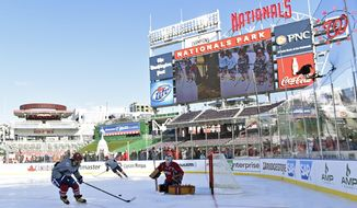 Washington Capitals left wing Alex Ovechkin, left, takes a shot on teammate goalie Braden Holtby, right, during a team practice on the outdoor hockey at Nationals Park in Washington, Wednesday, Dec. 31, 2014. The Capitals face off against the Chicago Blackhawks in the Winter Classic outdoor hockey game on New Year's Day. (AP Photo/Susan Walsh)