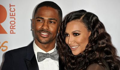 "Big Sean, left, and Naya Rivera arrive at TrevorLIVE Los Angeles Benefit at the Hollywood Palladium, in Los Angeles. The rapper and actress are no longer engaged. A spokeswoman for Big Sean announced Wednesday, April 9, 2014, that he has canceled plans to marry the ""Glee†star. (Photo by Richard Shotwell/Invision/AP, file)"