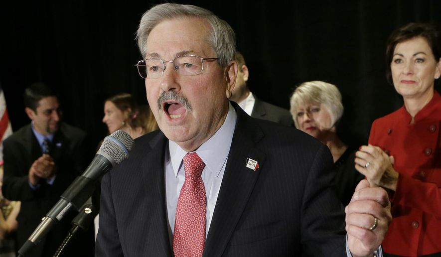 In this Nov. 4, 2014 file photo, Iowa Gov. Terry Branstad speaks in West Des Moines, Iowa. In the year that will pass before the 2016 campaign for president formally kicks off with the votes in the Iowa Caucus, any number of candidates, donors, political operatives _ and people who have nothing to do with American politics _ will shape the race for the White House. (AP Photo/Charlie Neibergall, File) **FILE**