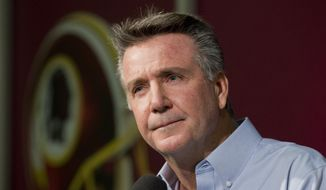 Washington Redskins President and General Manager Bruce Allen, speaks to reporters during an NFL football news conference at the Redskins Park in Ashburn, Va., Wednesday, Dec. 31, 2014.   (AP Photo/Manuel Balce Ceneta)