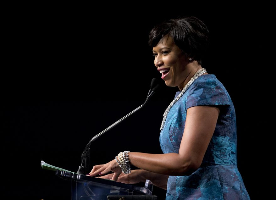 Washington Mayor Muriel Bowser speaks after taking the oath of office during the District of Columbia Mayoral Inauguration ceremony at the Convention Center in Washington, Friday, Jan. 2, 2015. (AP Photo/Carolyn Kaster) **FILE**