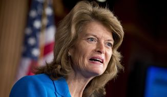 In this Feb. 4, 2013 file photo, Sen. Lisa Murkowski, R-Alaska speaks on Capitol in Washington. Republican senators poised to lead major committees when the GOP takes charge are intent on pushing back many of President Barack Obama's policies, setting up potential showdowns over environmental rules, financial regulations and national security.  (AP Photo/J. Scott Applewhite, File)