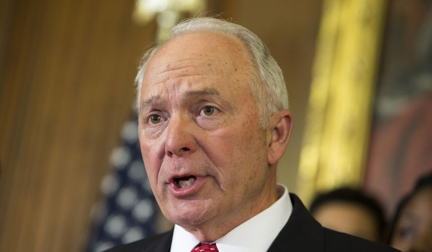 Rep. John Kline, R-Minn. speaks during a news conference on Capitol Hill in Washington. (AP Photo/ Evan Vucci, File)