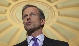 FILE - In this April 1, 2014 file photo, Sen. John Thune, R-S.D. speaks on Capitol Hill in Washington. Republican senators poised to lead major committees when the GOP takes charge are intent on pushing back many of President Barack Obama's policies, setting up potential showdowns over environmental rules, financial regulations and national security. (AP Photo/Cliff Owen, File)