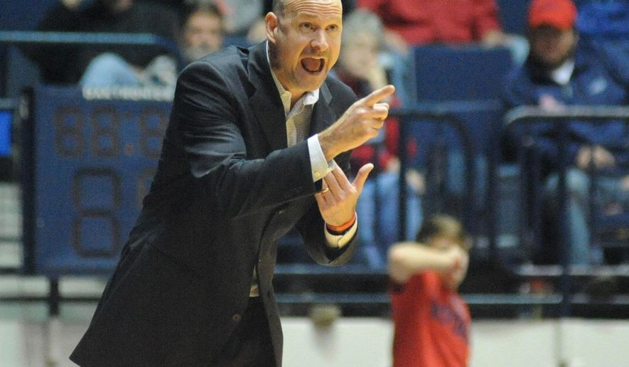 Mississippi head coach Andy Kennedy yells instructions to his team during an NCAA college basketball game against Austin Peay, Saturday, Jan. 3, 2015, in Oxford, Miss. (AP Photo/Oxford Eagle, Bruce Newman)