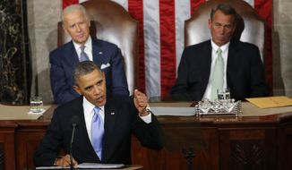 FILE - In this Jan. 28, 2014 file photo, Vice President Joe Biden and House Speaker John Boehner of Ohio listens as President Barack Obama gives his State of the Union address on Capitol Hill in Washington. Away for more than half a month, President Barack Obama returns to the White House this weekend aiming to set the agenda for the new year solely on his terms. He'll face newly emboldened Republicans who feel their victory in last year's midterm elections give them a mandate to rein the president in. (AP Photo/Charles Dharapak, File)