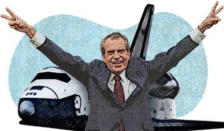 Nixon and the Space Shuttle Illustration by Greg Groesch/The Washington Times