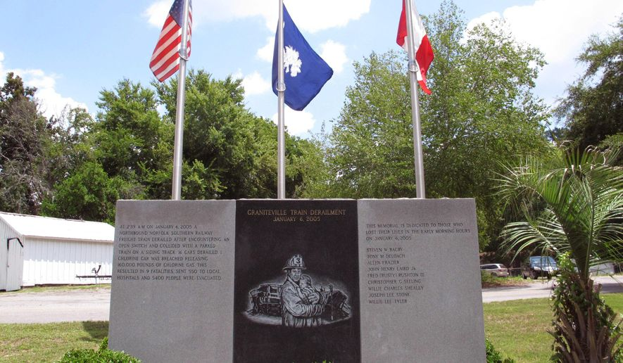 The memorial to the nine people who died in a January 2005 train derailment and chlorine leak is seen on Thursday, July 24, 2014, in Graniteville, S.C. Firefighters who responded to the crash raised the money for the memorial and take care of it. (AP Photo/Jeffrey Collins)