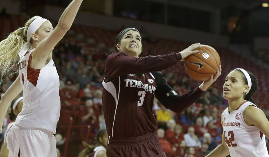 Texas A&M's Taylor Cooper (3) goes to the basket between Arkansas' Calli Berna, left, and Jhasmin Bowen (42) in the first half of an NCAA college basketball game in Fayetteville, Ark., Sunday, Jan. 4, 2015. (AP Photo/Danny Johnston)