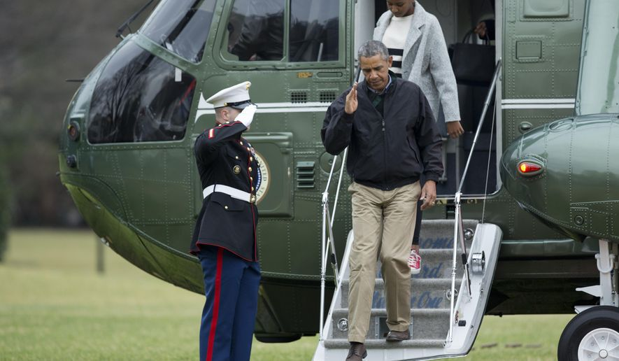 President Barack Obama, followed by daughter Sasha Obama, salutes a Marines honor guard as they disembark from Marine One upon arriving at the White House in Washington, Sunday, Jan. 4, 2015, from a family vacation in Hawaii. (AP Photo/Manuel Balce Ceneta)