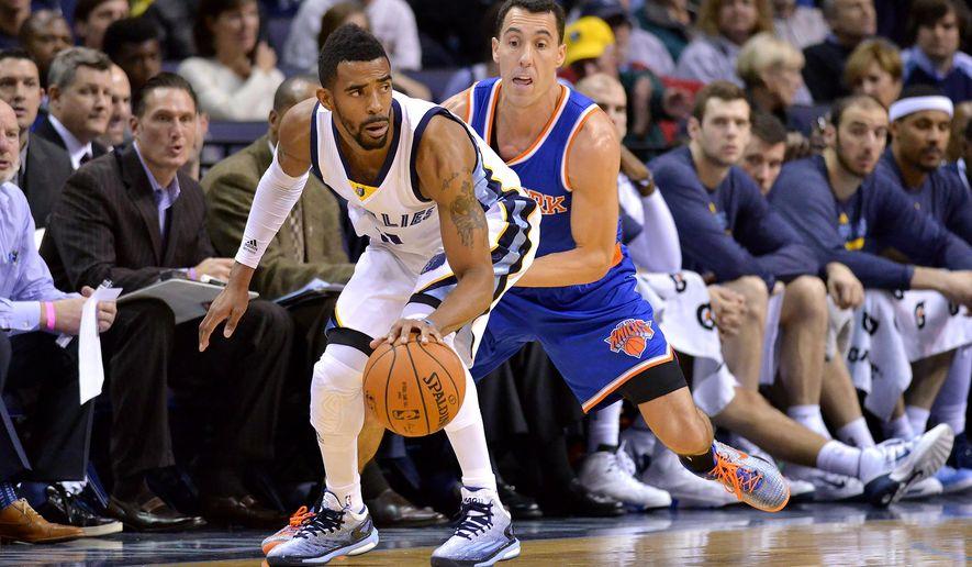 Memphis Grizzlies guard Mike Conley, left, controls the ball against New York Knicks guard Pablo Prigioni in the first half of an NBA basketball game Monday, Jan. 5, 2015, in Memphis, Tenn. (AP Photo/Brandon Dill)