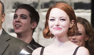 "This Nov. 11, 2014, file photo shows Emma Stone appearing at the curtain call following her debut performance in Broadway's ""Cabaret"" in New York. (Photo by Charles Sykes/Invision/AP, File)"