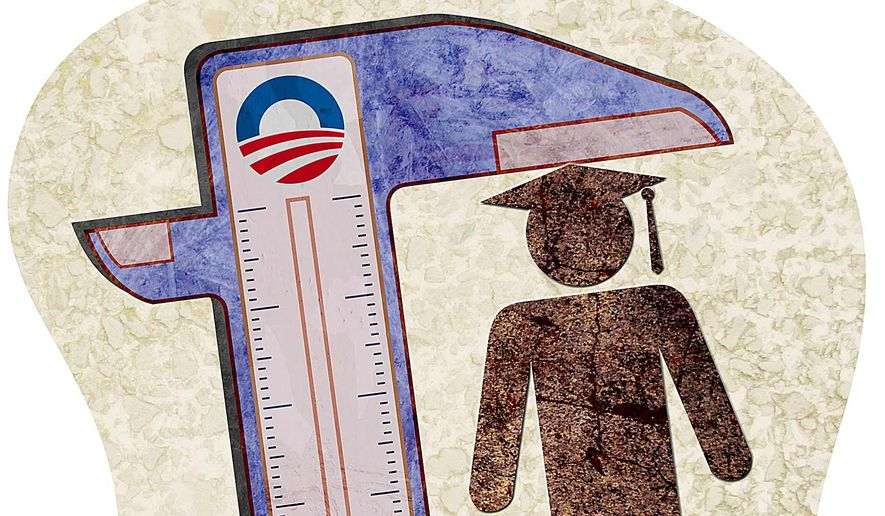 Obama's College Calipers Illustration by Greg Groesch/The Washington Times